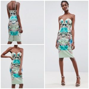NWT ASOS Tropical Floral Bandeau Midi Mint Dress 6